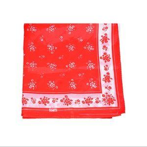 Red Floral Vintage Robinson Golluber Silk Scarf